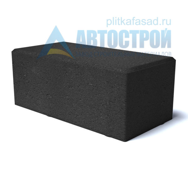 """Тротуарная плитка """"Брусчатка"""" с фаской 12х25см толщиной 80мм черная"""