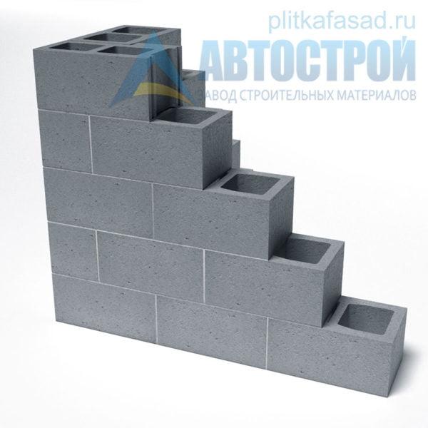 Блок бетонный стеновой КСР-ПР-ПС-39-100-F75-1100 (СКЦ) 240x190x390мм двухпустотный. Пример стены