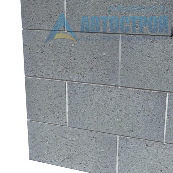 Блок бетонный фундаментный КСР-ПР-39-150-F75-2200 (СКЦ) 290х190х390мм полнотелый. Пример стены