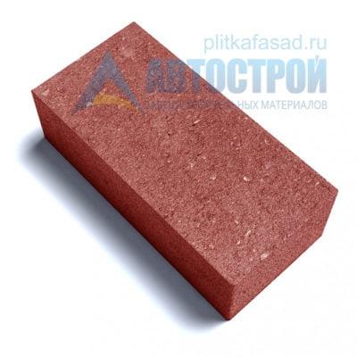Тротуарная плитка «Брусчатка» без фаски 12х25см толщиной 80мм красная