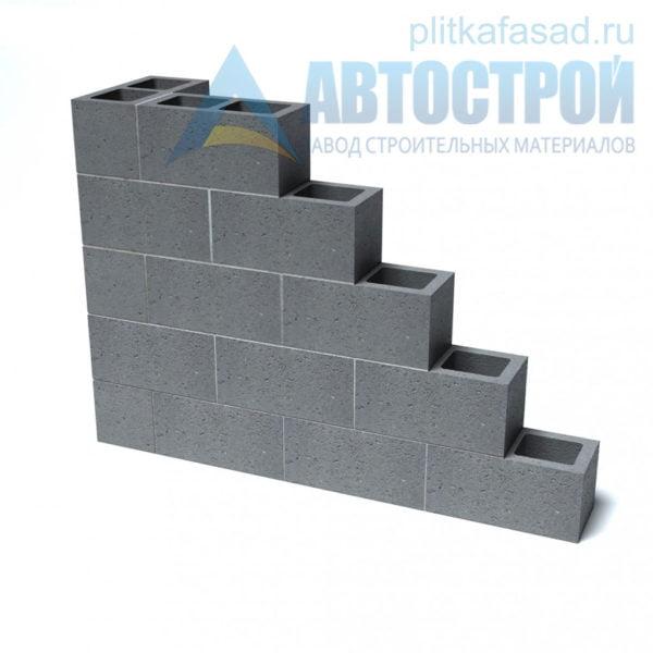 Блок бетонный стеновой КСР-ПР-ПС-39-100-F75-1100 (СКЦ-1Л) 190x190x390мм пустотелый. Пример угла