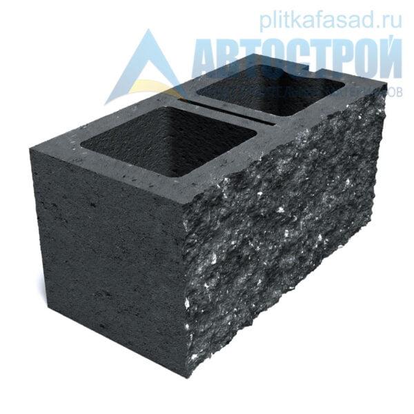 Блок фасадный рядовой двухпустотный 190х188х390мм черный