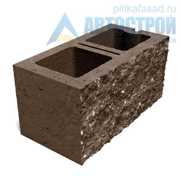 Блок фасадный рядовой двухпустотный 190х188х390мм коричневый