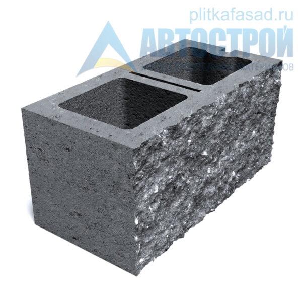 Блок фасадный рядовой двухпустотный 190х188х390мм серый