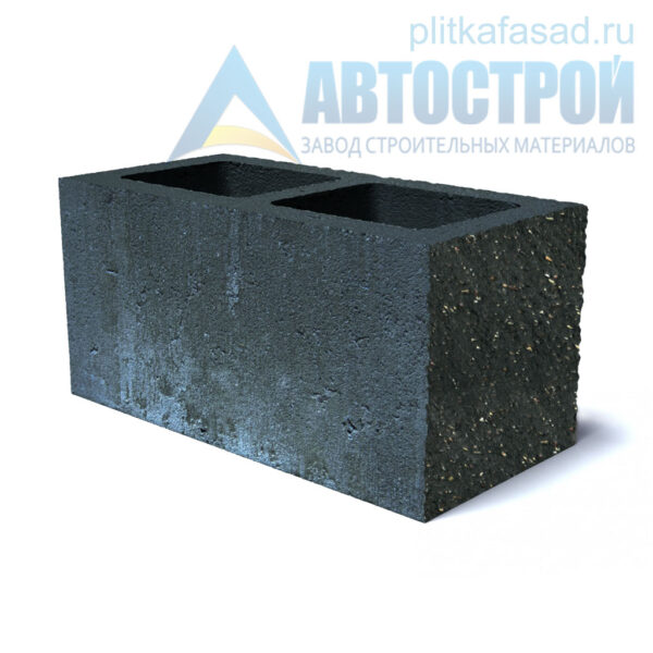 Блок фасадный угловой двухпустотный 190х188х390 черный