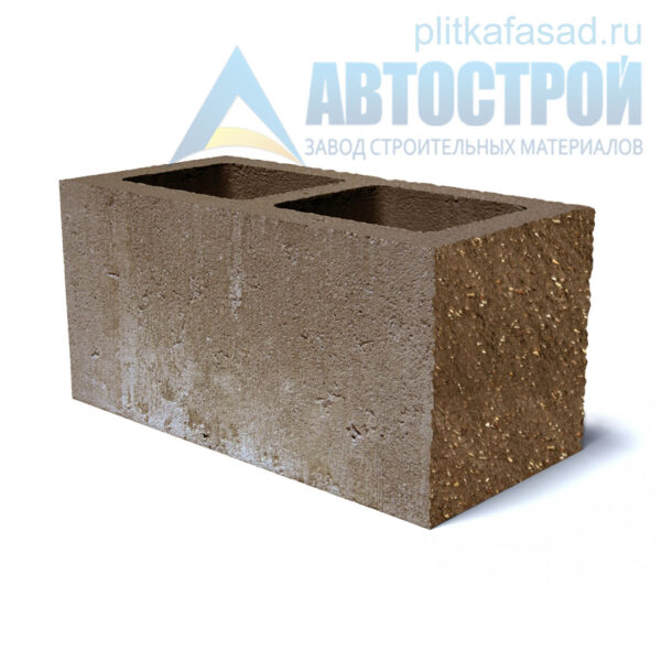 Блок фасадный угловой двухпустотный 190х188х390 коричневый