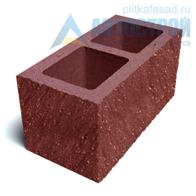 Блок фасадный угловой двухпустотный 190х188х390 красный