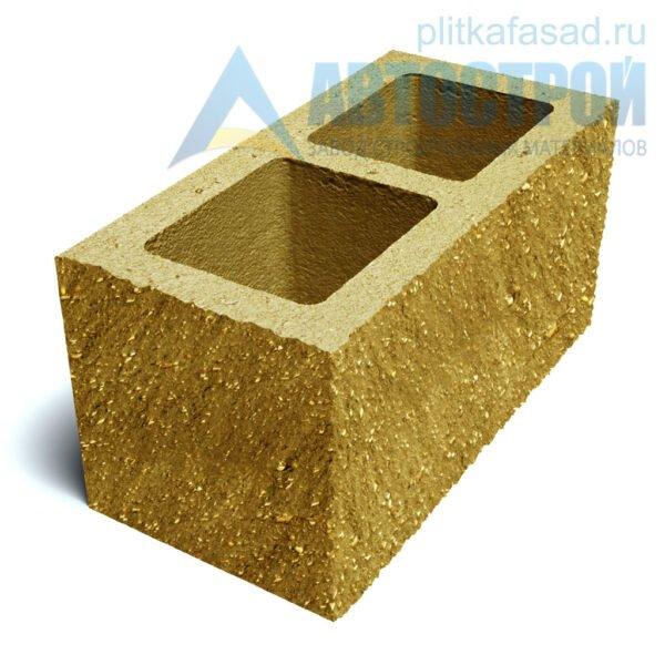 Блок фасадный угловой двухпустотный 190х188х390 желтый
