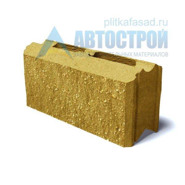 Фасадный блок для стены забора желтый