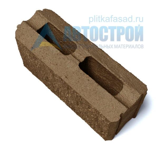 Фасадный блок для стены забора коричневый