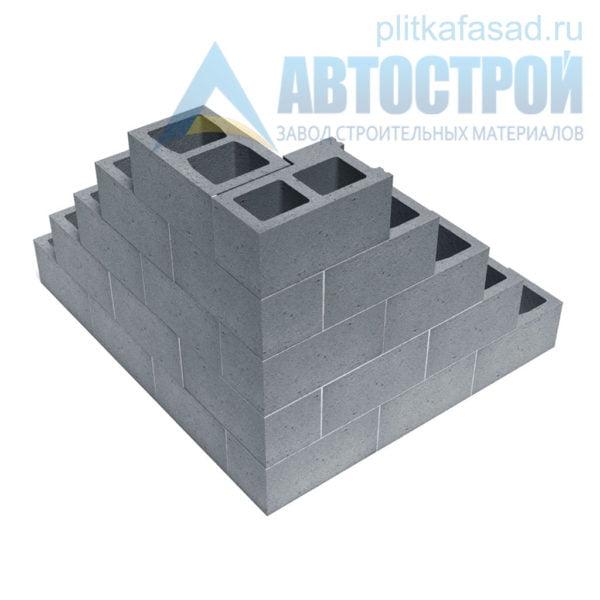 Блок керамзитобетонный стеновой (СКЦ) 240x190x390мм двухпустотный пример угла
