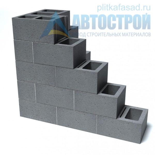 Блок керамзитобетонный стеновой КПР-ПР-ПС-39-50-F25-900 (СКЦ) 290x190x390мм двухпустотный пример угла