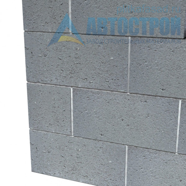 Блок керамзитобетонный стеновой КПР-ПР-ПС-39-50-F25-900 (СКЦ) 290x190x390мм двухпустотный пример стены