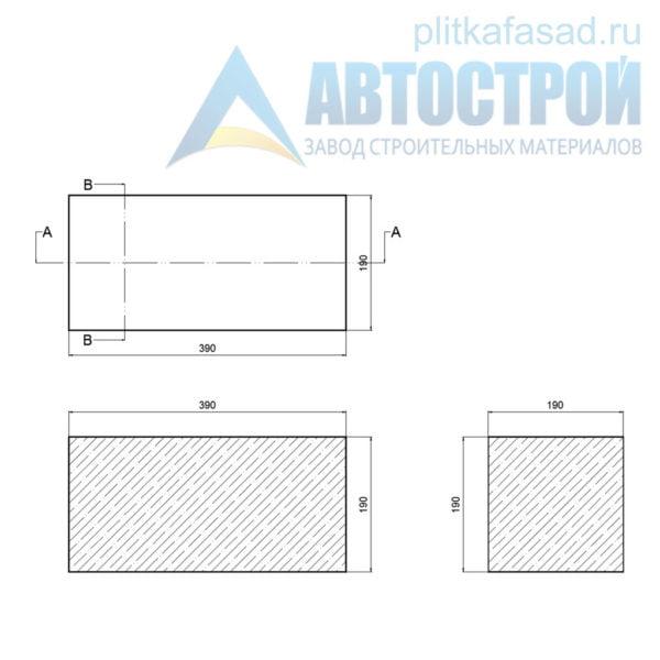Блок керамзитобетонный стеновой КПР-ПР-39-50-F25-1600 (СКЦ-1ПРП 01/01С) 190х190х390мм полнотелый чертеж