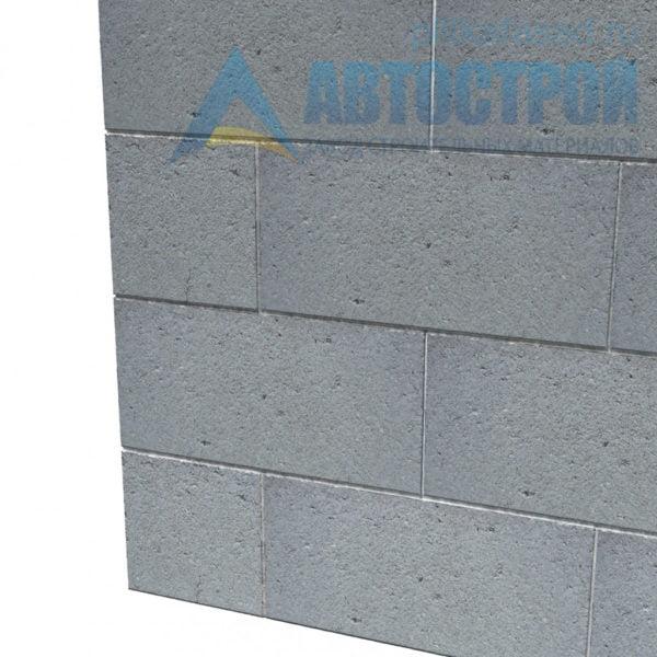 Блок керамзитобетонный стеновой КПР-ПР-39-50-F25-1600 (СКЦ-1ПРП 01/01С) 190х190х390мм полнотелый пример стены