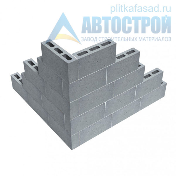 Блок керамзитобетонный для перегородок КПР-ПР-ПС-39-50-F25-900 (СКЦ-3Р 01/01С) 90x190x390мм пустотелый пример угла