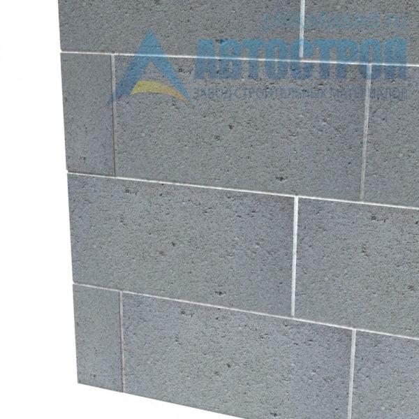 Блок керамзитобетонный для перегородок КПР-ПР-ПС-39-50- F25-900 (СКЦ-3Р-80 01/01С) 80x188x390мм пустотелый пример стены