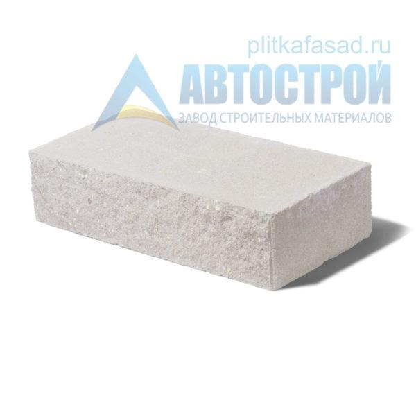 Кирпич бетонный стеновой полнотелый фасадный колотый рядовой белый