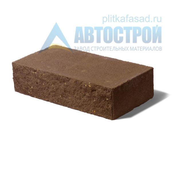 Кирпич бетонный стеновой полнотелый фасадный колотый рядовой коричневый