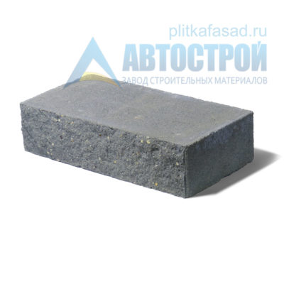 Кирпич бетонный стеновой полнотелый фасадный колотый рядовой серый