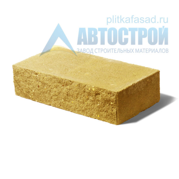 Кирпич бетонный стеновой полнотелый фасадный колотый рядовой желтый