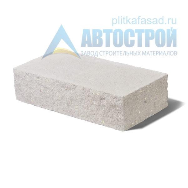 Кирпич бетонный стеновой полнотелый фасадный колотый угловой белый