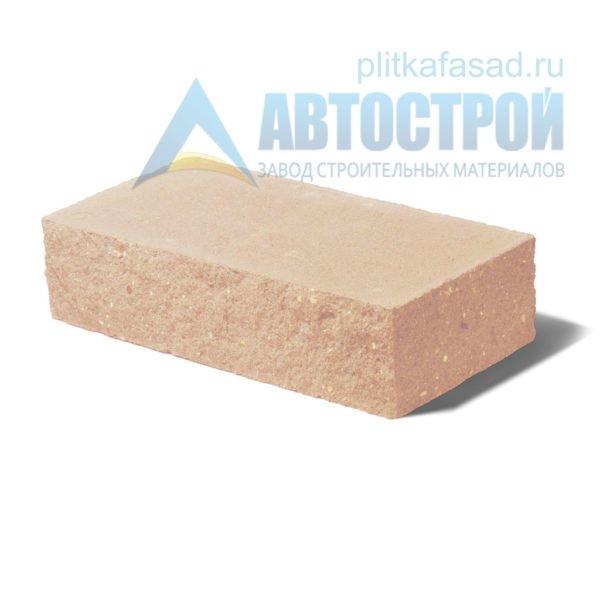 Кирпич бетонный стеновой полнотелый фасадный колотый угловой бежевый