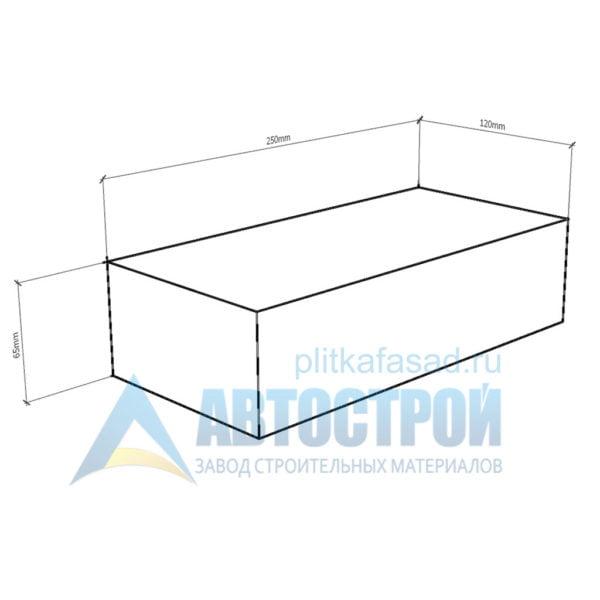 Кирпич бетонный стеновой полнотелый фасадный колотый угловой чертеж