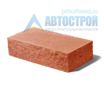 Кирпич бетонный стеновой полнотелый фасадный колотый угловой оранжевый