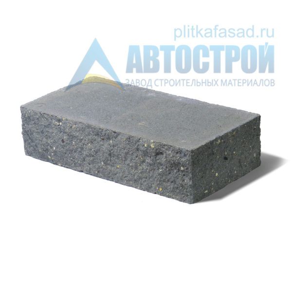 Кирпич бетонный стеновой полнотелый фасадный колотый угловой серый