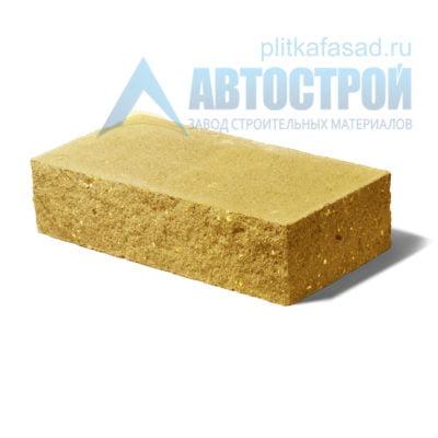 Кирпич бетонный стеновой полнотелый фасадный колотый угловой желтый