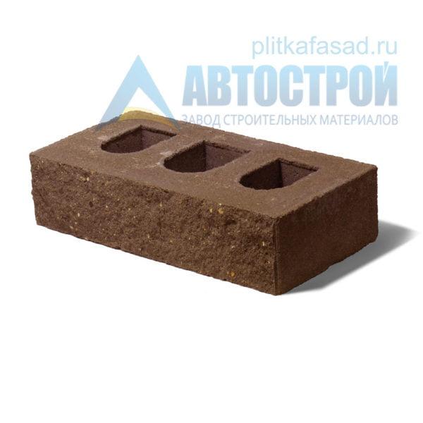 Кирпич бетонный стеновой пустотелый фасадный колотый рядовой коричневый