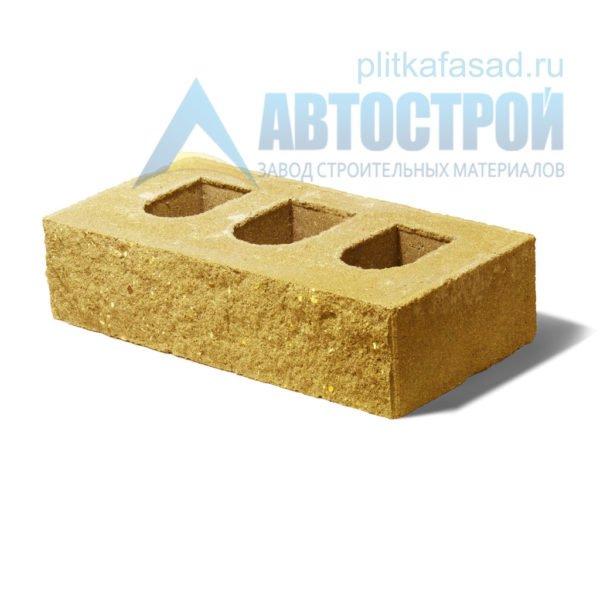 Кирпич бетонный стеновой пустотелый фасадный колотый рядовой желтый
