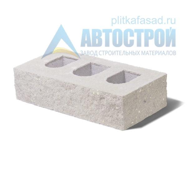 Кирпич бетонный стеновой пустотелый фасадный колотый угловой белый