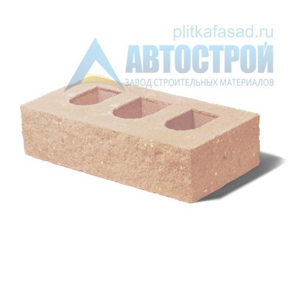 Кирпич бетонный стеновой пустотелый фасадный колотый угловой бежевый