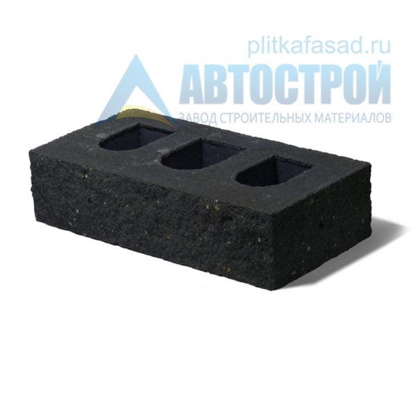 Кирпич бетонный стеновой пустотелый фасадный колотый угловой черный
