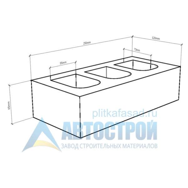 Кирпич бетонный стеновой пустотелый фасадный колотый угловой чертеж