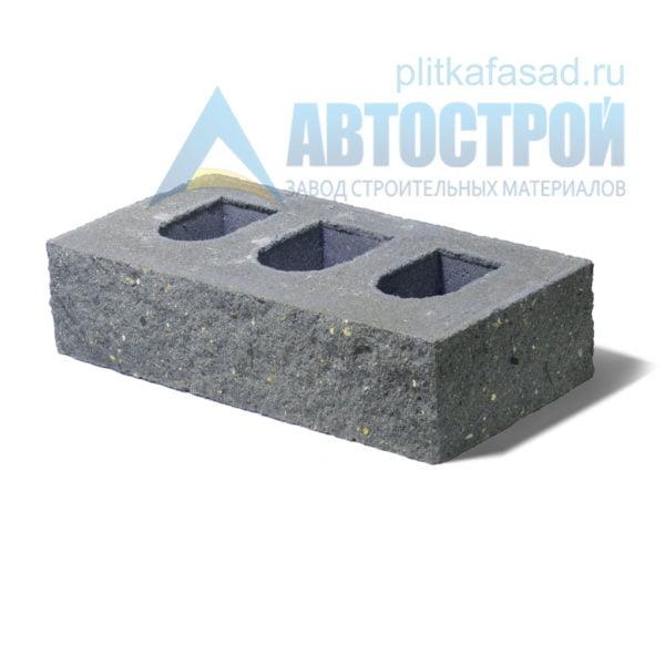 Кирпич бетонный стеновой пустотелый фасадный колотый угловой серый