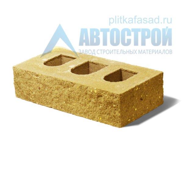Кирпич бетонный стеновой пустотелый фасадный колотый угловой желтый