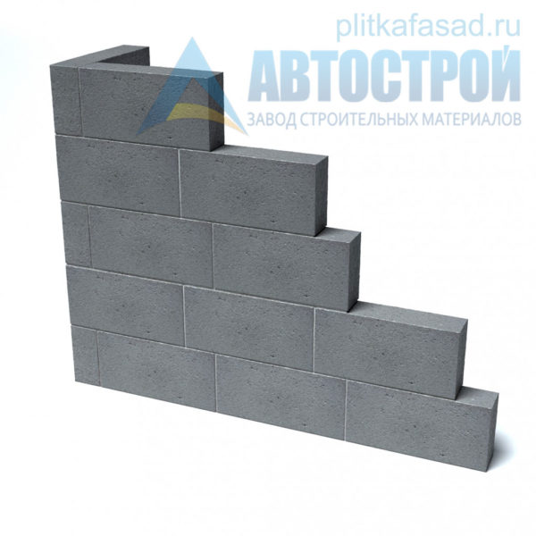 Блк бетонный для перегородок СКЦ-3ЛК-80 80х188х390 полнотелый. Пример угла