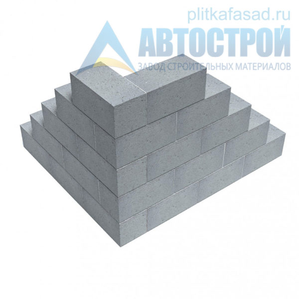 Блок бетонный фундаментный КСР-ПР-39-150-F75-2200 (СКЦ-1ПЛП) 190х190х390мм полнотелый. Пример угла