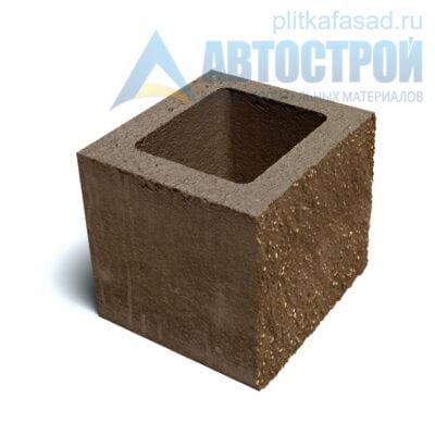 Блок фасадный рядовой пустотелый 190х188х190мм коричневый
