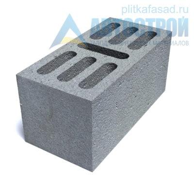 Блок бетонный стеновой КСР-ПР-ПС-39-100-F75-1400 (СКЦ-1ЛГ) 190x190x390мм семищелевой