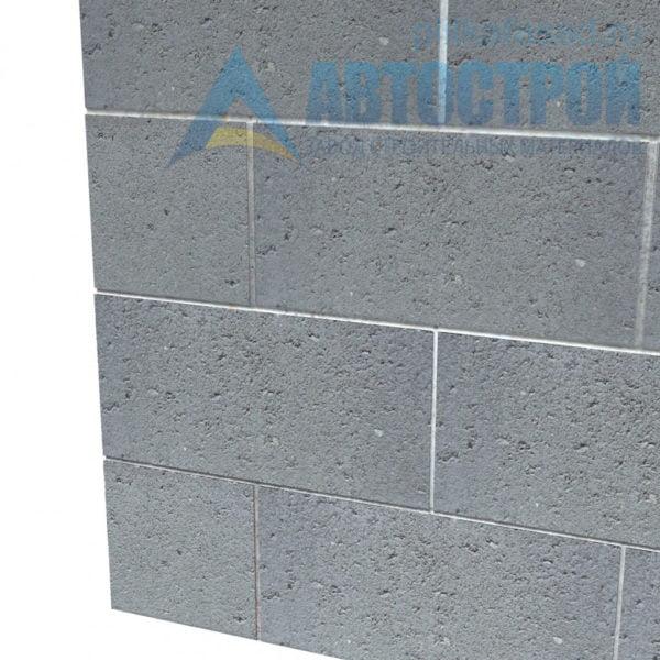Блок бетонный стеновой КСР-ПР-ПС-39-100-F75-1400 (СКЦ-1ЛГ) 190x190x390мм семищелевой. Пример стены